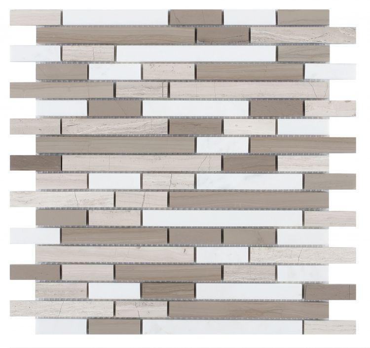 Precious Stone Smoke Grey Linear, Stack Polished Marble  Mosaic