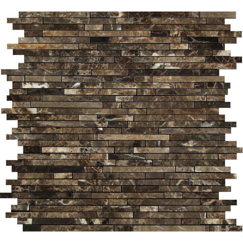 Marble Emperador Dark Bamboo Polished   Mosaic