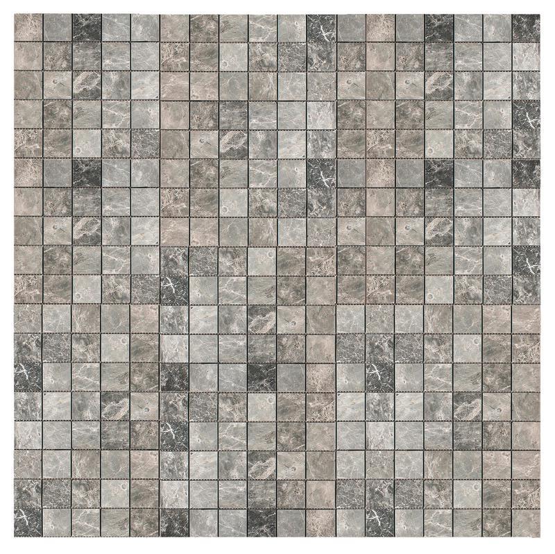 Marble Silver Tundra Grey 1x1 Square Tumbled   Mosaic