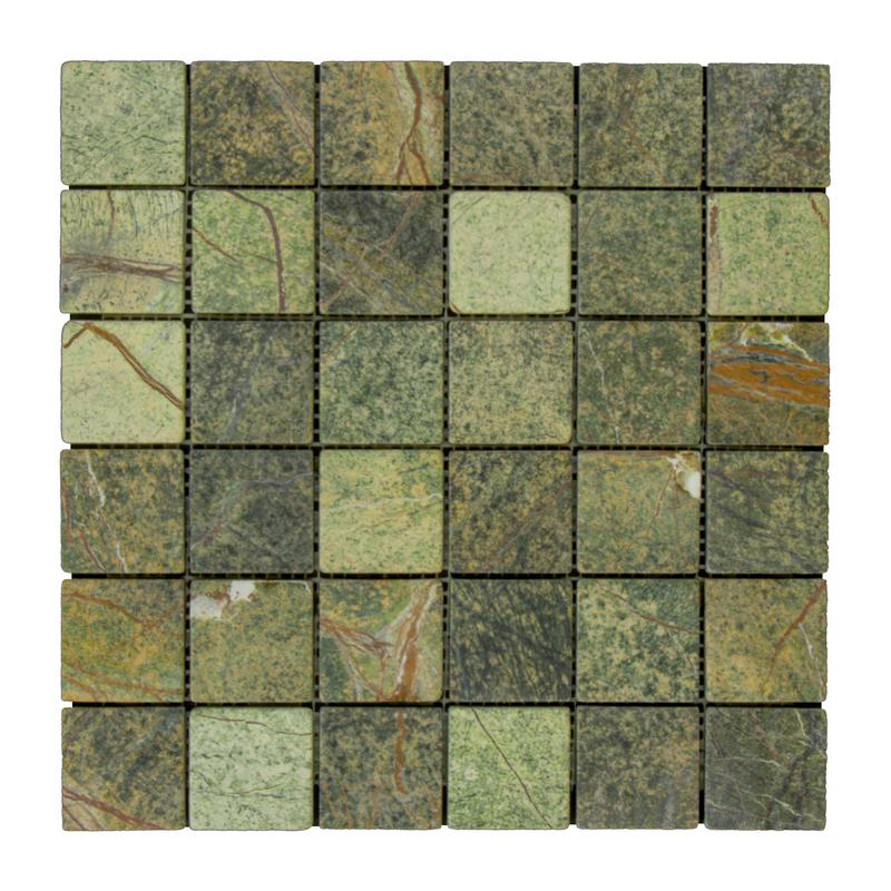 Marble Rain Forest Green 2x2 Square Tumbled   Mosaic