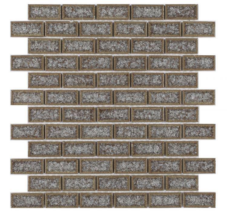 Jewel Super Grey Brick  Glass  Mosaic