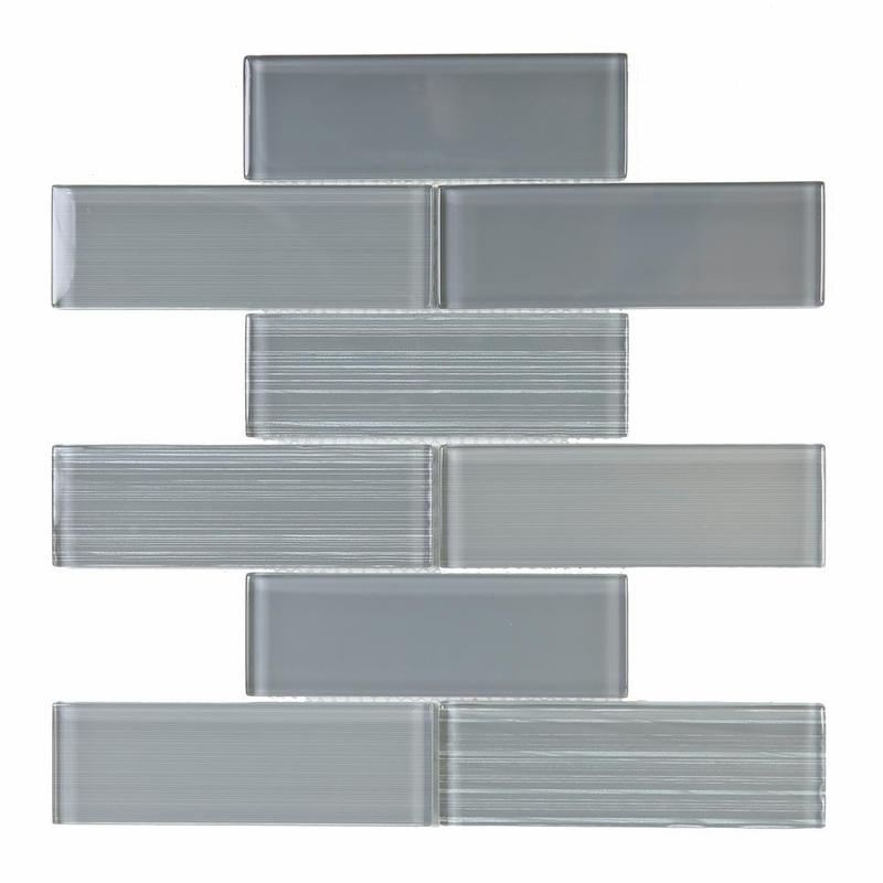 Ice Stream Silver Grey 2x6 Subway Glossy Glass  Mosaic