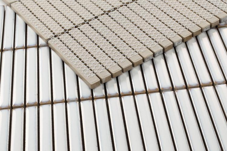 Hulu White Band Linear  Porcelain  Mosaic