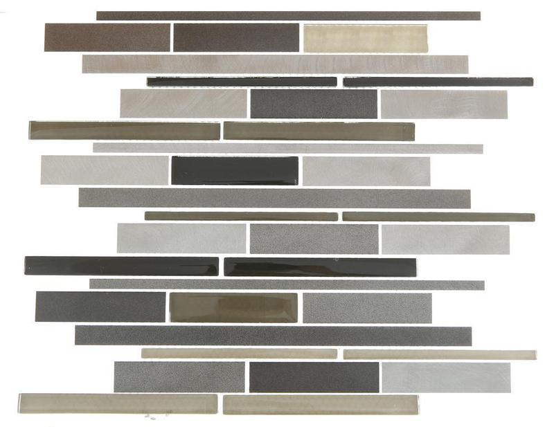 Alumix Grey Linear Glossy, Matte Mixed  Mosaic