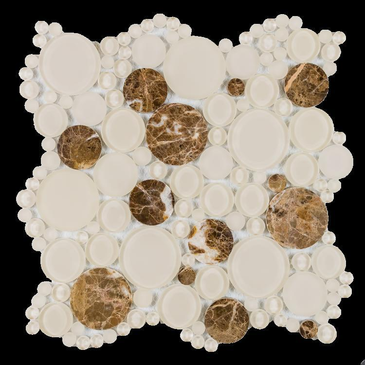 Circular Oompa Emperador Glass  Mosaic