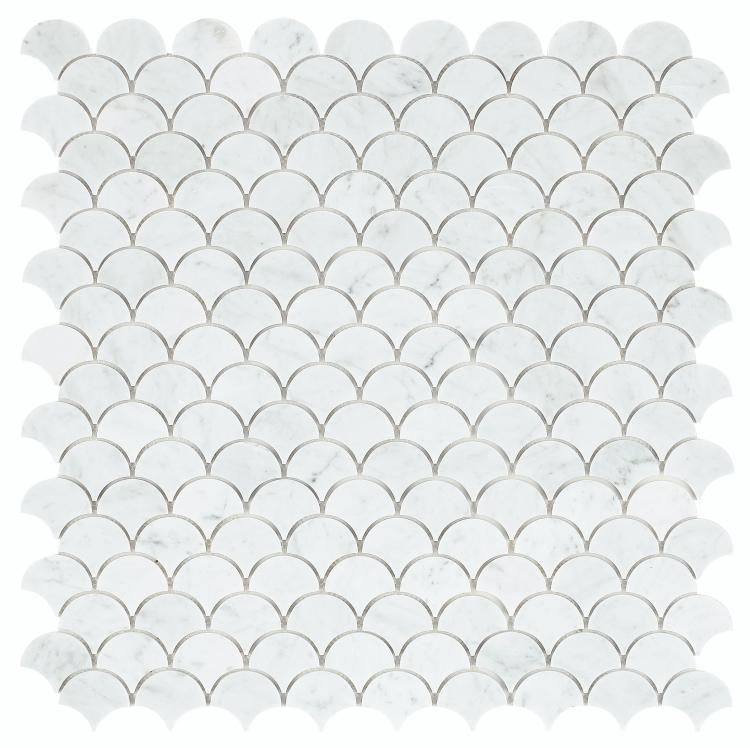 Dragon Scale Carrara Polished Marble  Mosaic