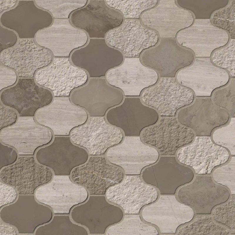 Backsplash Wall Tile Decorative Mosaics Arctic Storm Mix, Light Grey, Arabesque, Marble, Mosaic