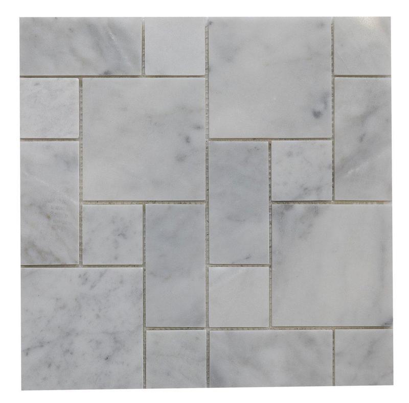 Marble Carrara White Mini French Pattern Polished   Mosaic