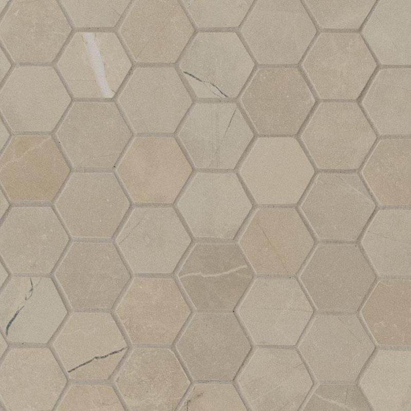 Porcelain Tile Sande Cream 2x2, Glazed, Beige, Hexagon, Mosaic