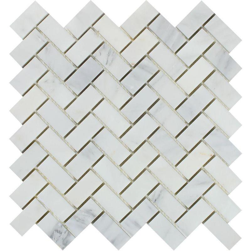 Marble Oriental White 1x3 Herringbone Honed   Mosaic