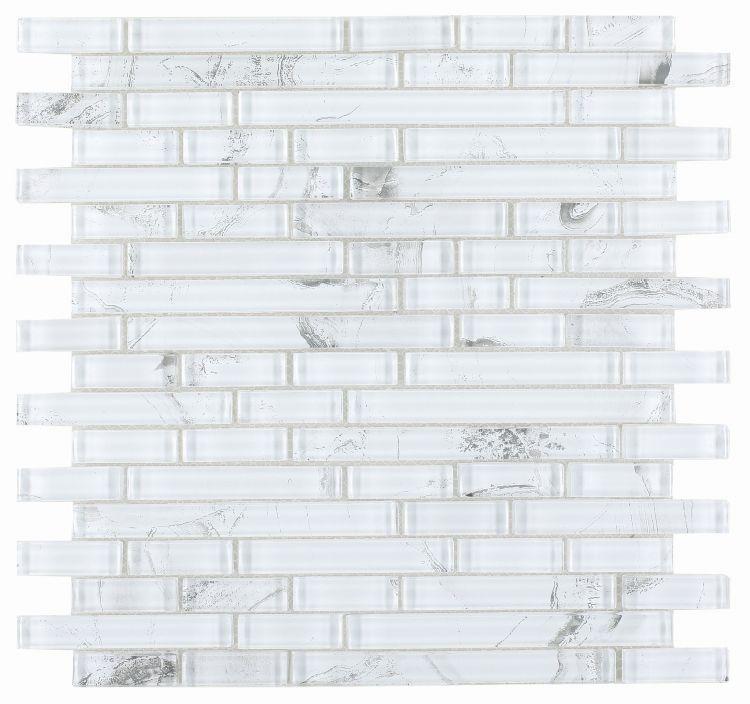 Shell White Linear Glossy Glass  Mosaic