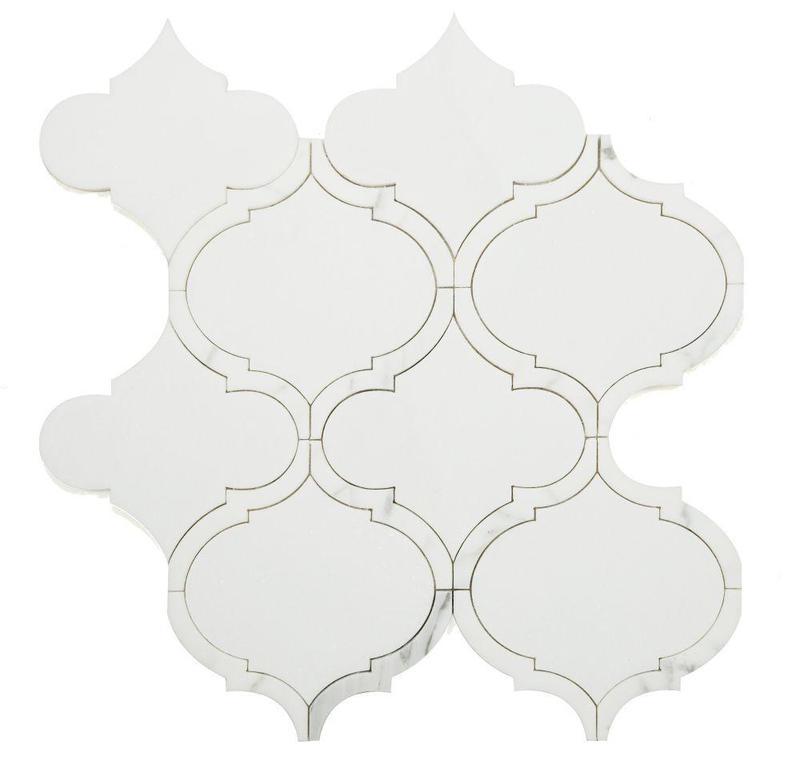 Alice Precious Bianco Arabesque Polished Marble  Mosaic