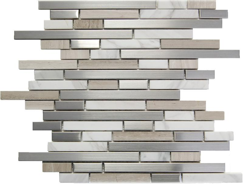 Stainless Steel Mosaics Leo Hb Ygt007-2 White Stone Mix Linear Polished   Mosaic (Discontinued)