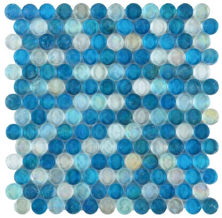 Malibu Ocean Pennyround  Glass  Mosaic