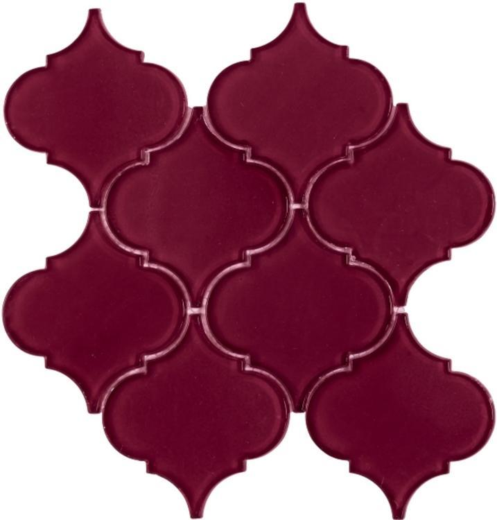 Arabesque Purple Red Glass  Mosaic