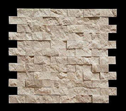 Marble Botticino Turkish 1x2 Brick Split-Face   Mosaic (Discontinued)