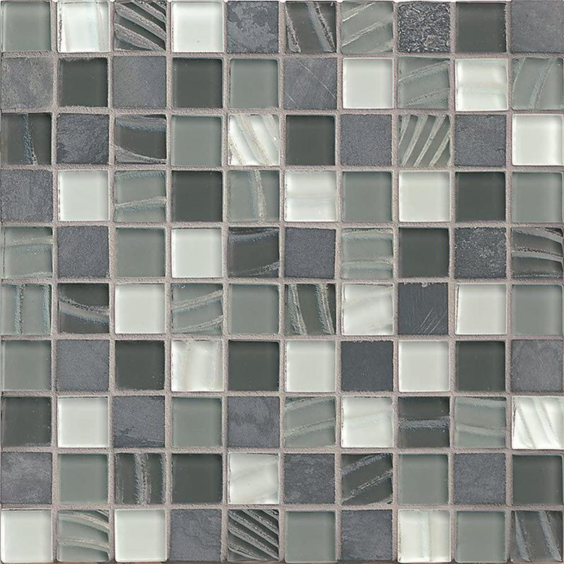 Elume Organic Pewter 1.13x1.13 Square Glossy Glass  Mosaic (Discontinued)