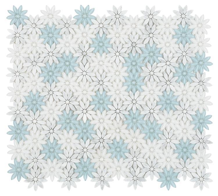 Daisy Blue Flower  Glass  Mosaic