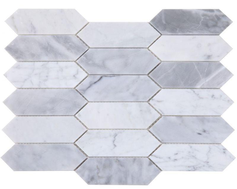 Elongated Hex Dusk Elongated Hexagon Polished Marble  Mosaic