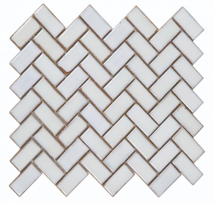 Hulu Tango White Large 1x2 Herringbone  Porcelain  Mosaic