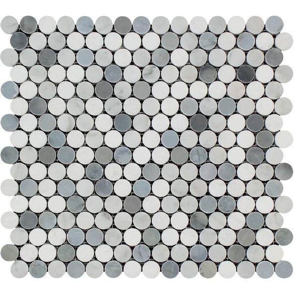 Marble White Carrara W Grey Thassos Pennyround Polished   Mosaic
