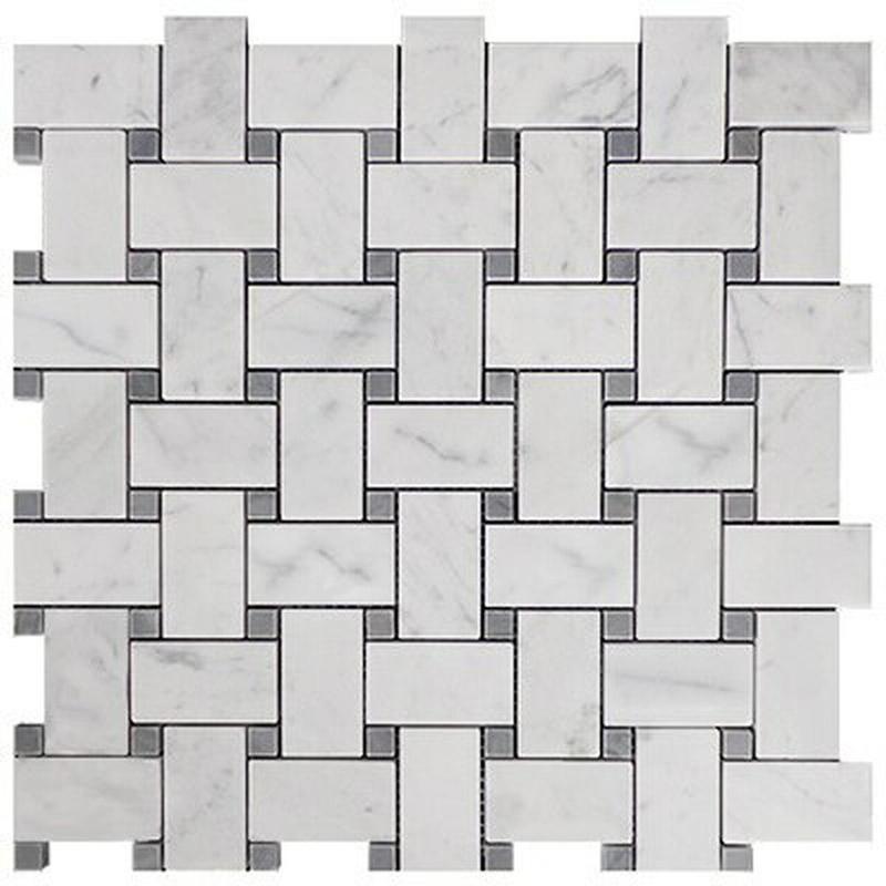 Marble White Carrara Basketweave W Grey Dot Honed   Mosaic