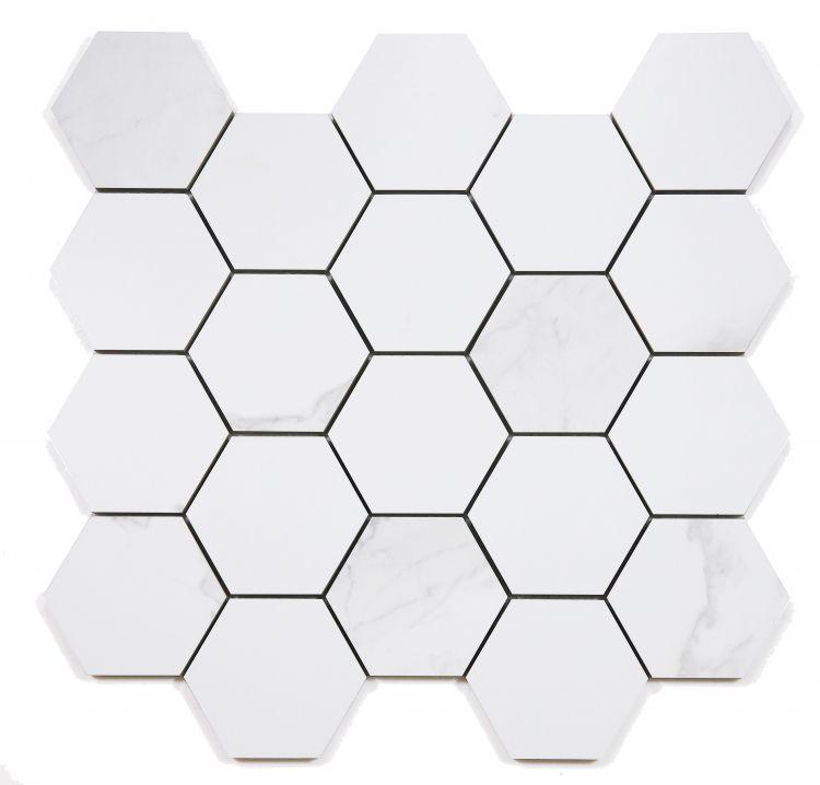 Calacatta Dorado 3x3 Hexagon Matte, Glazed Porcelain  Mosaic