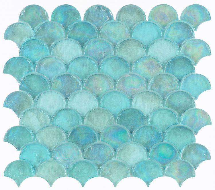 Malibu Turquoise Scale  Glass  Mosaic