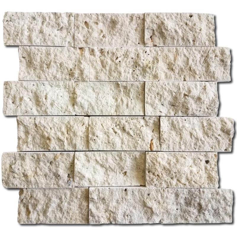 Ivory 2x4 Brick Split-Face Travertine  Mosaic