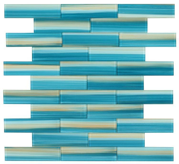 Large Glass Tile Amazon Turquoise Subway Glossy   Mosaic