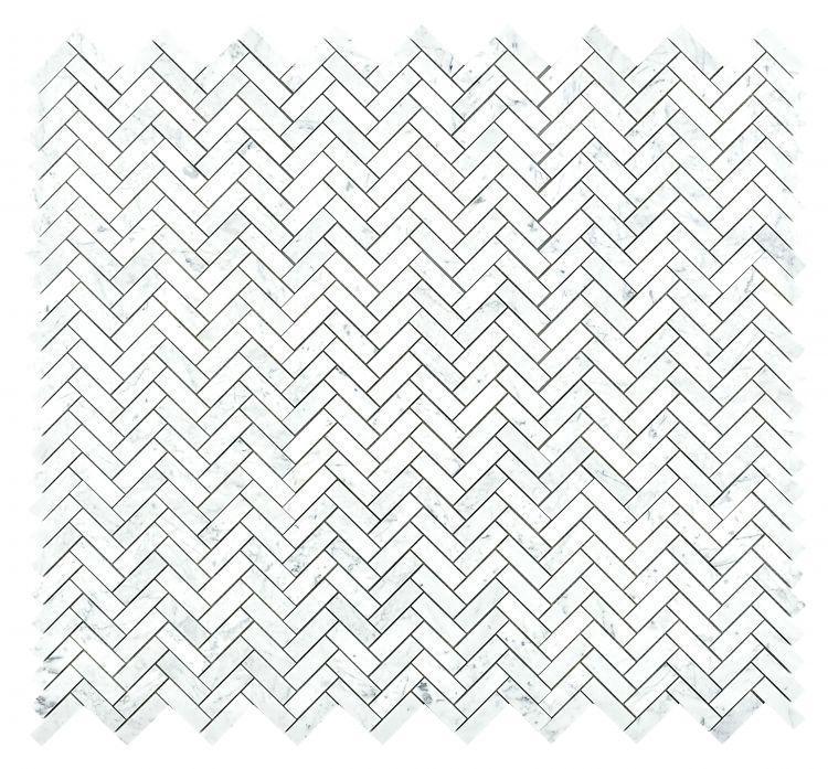 Chevron Herringbone Long Carrara Polished Marble  Mosaic