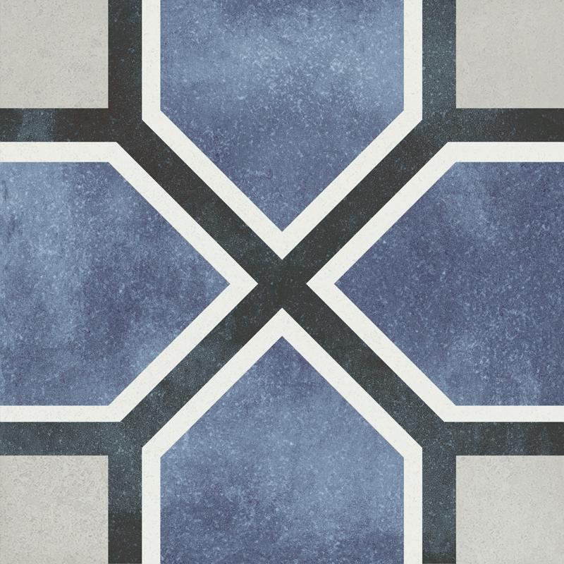 Fluer Antoinette 6x6, Glazed, Blue, White, Square, Porcelain, Tile