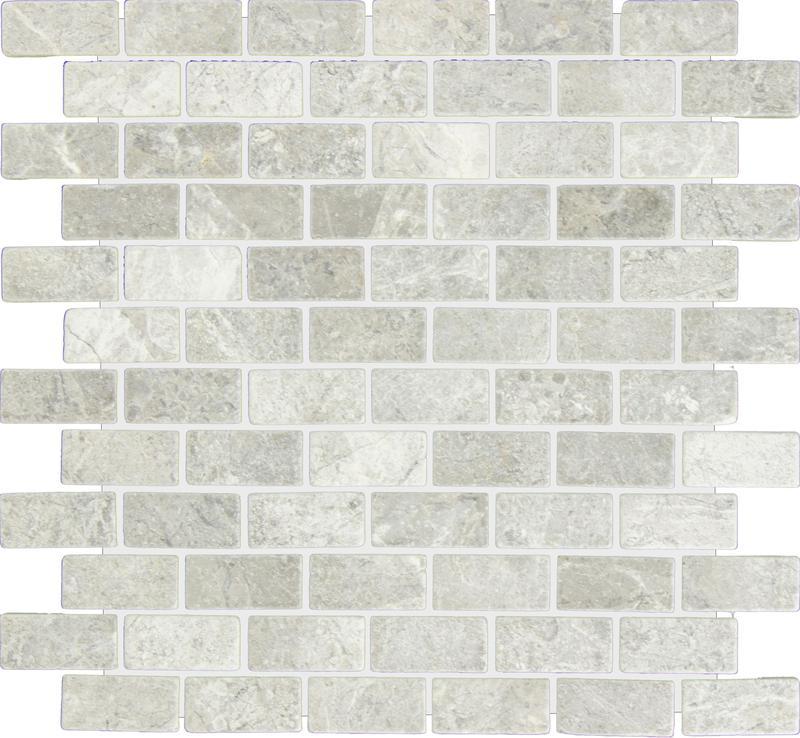 Marble Silver Tundra Grey 1x2 Brick Tumbled   Mosaic