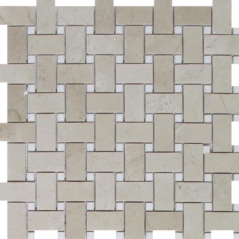 Marble Crema Marfil Basketweave W White Dot Polished   Mosaic
