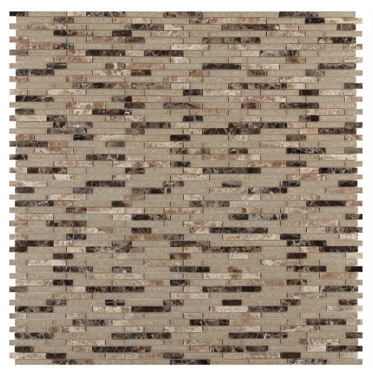 Jewel Cappuccino Linear, Stack  Glass  Mosaic