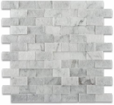 Carrara White 1x2 Brick Split-Face Marble  Mosaic