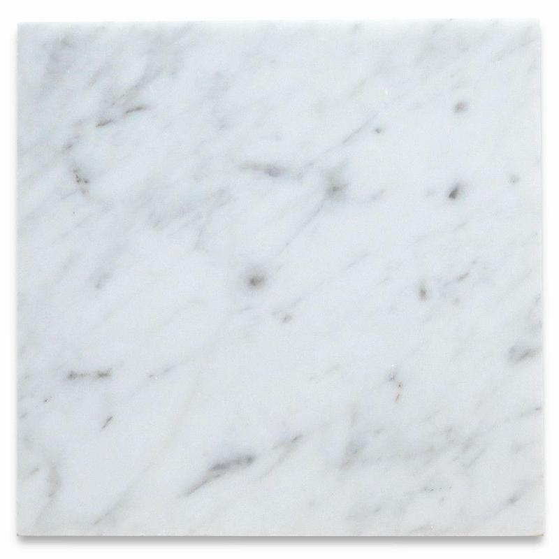 Italian Carrara White Marble Tile 12x12 Honed