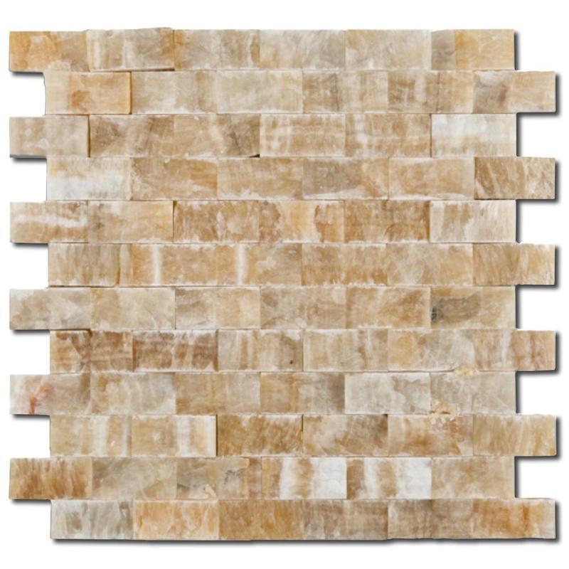 Honey Onyx 1x2 Brick Split-Face   Mosaic