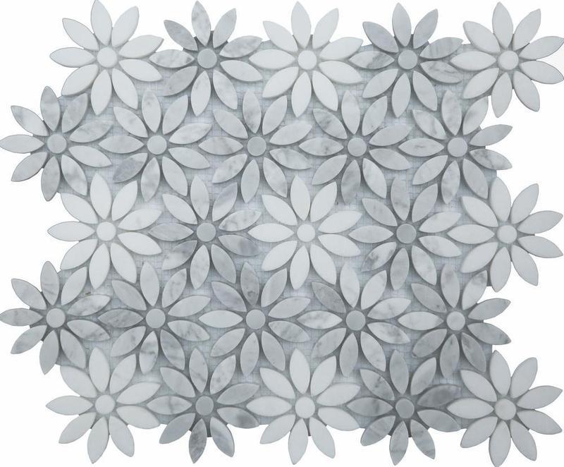 Ornate Flower Honed Natural Stone  Mosaic