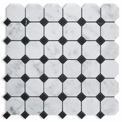 Marble White Carrara W Black Octagon With Dot Honed   Mosaic
