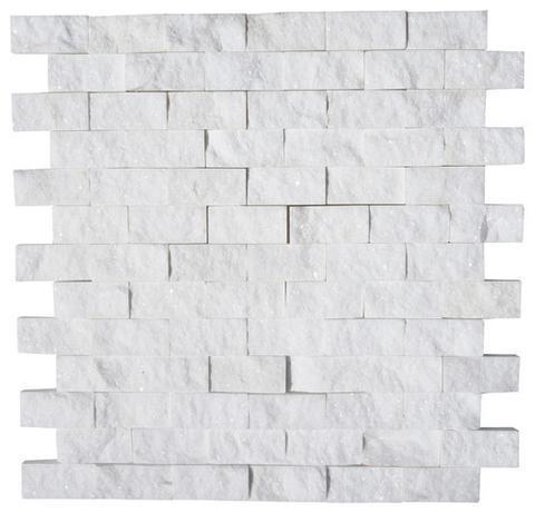 Thassos White Greek Marble 1x2 Brick Split-Face   Mosaic