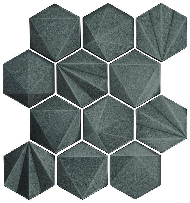 Geometal Gunmetal 3x3, Satin, Hexagon, Metal, Mosaic
