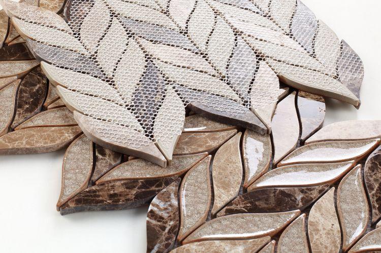 Leaf Cappuccino Glass  Mosaic