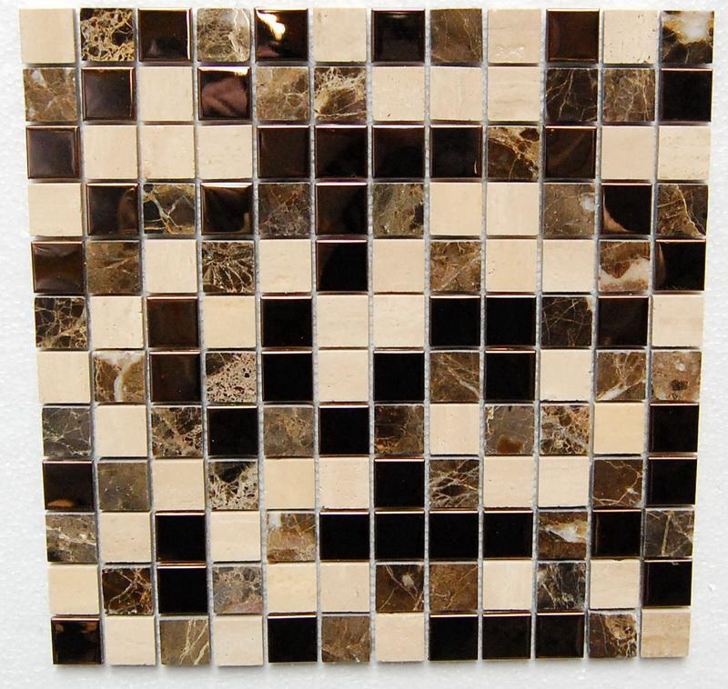 Stainless Steel Mosaics Lupus Hb Ygt001-7 Mirror Emp Dark Travertine 1 in Square Polished   Mosaic (Discontinued)