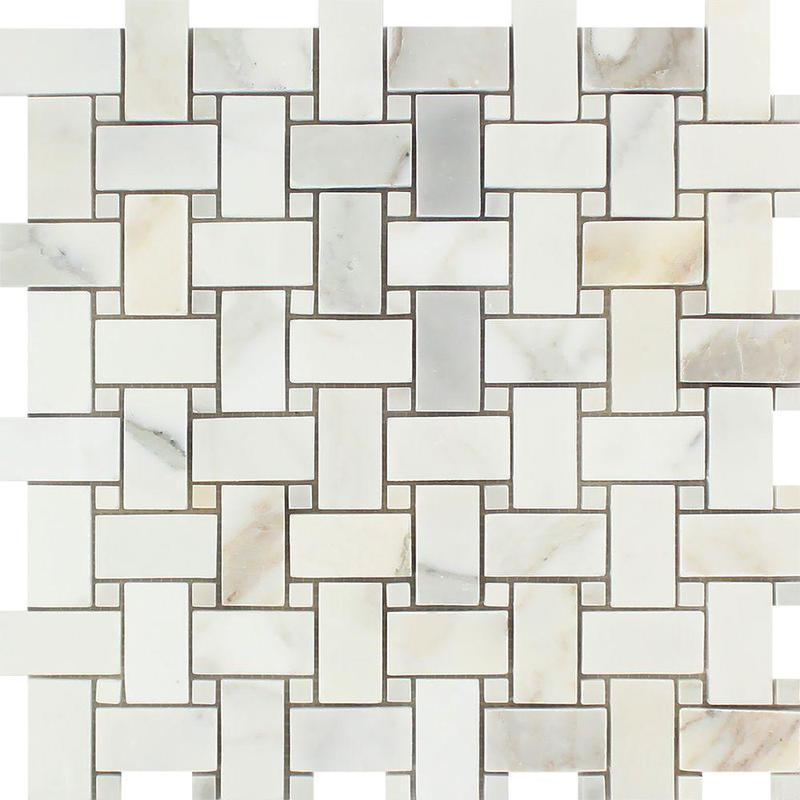 Marble Calacatta Gold Basketweave W Dot Honed   Mosaic