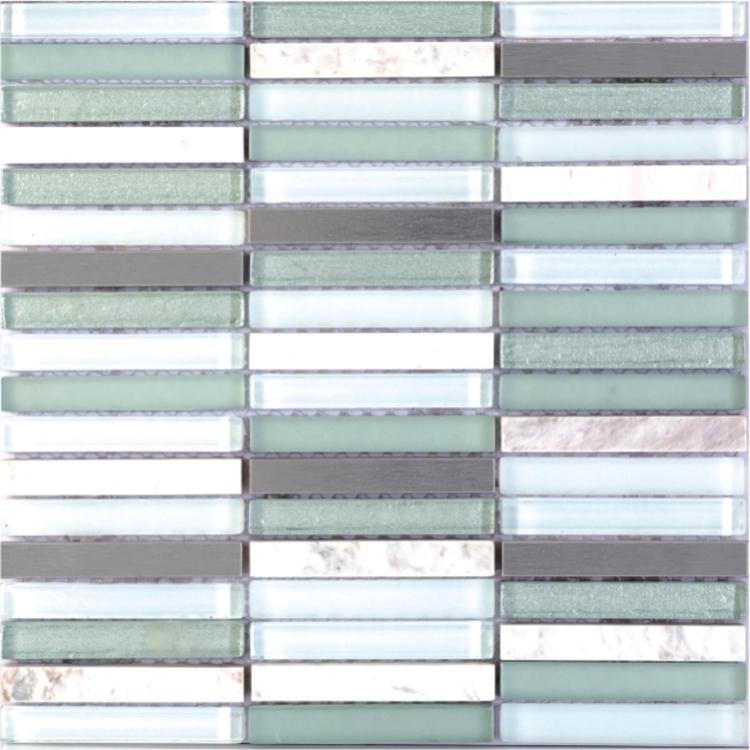 Metal Green Band Linear  Glass  Mosaic