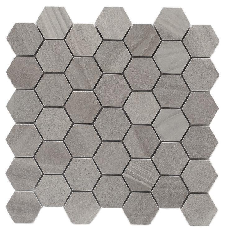 Sand Stone Dark Grey Hexagon  Porcelain  Mosaic
