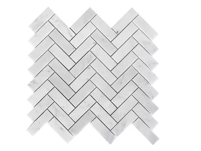 Stone Mosaic Italian Carrara White 1x3 Herringbone Polished Marble