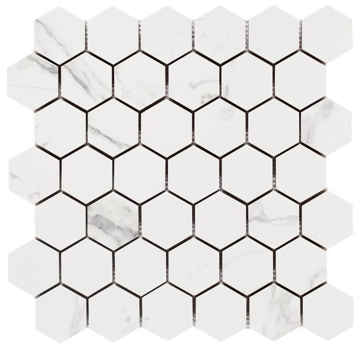 Carrara Premium 2x2 Hexagon Matte, Glazed Porcelain  Mosaic