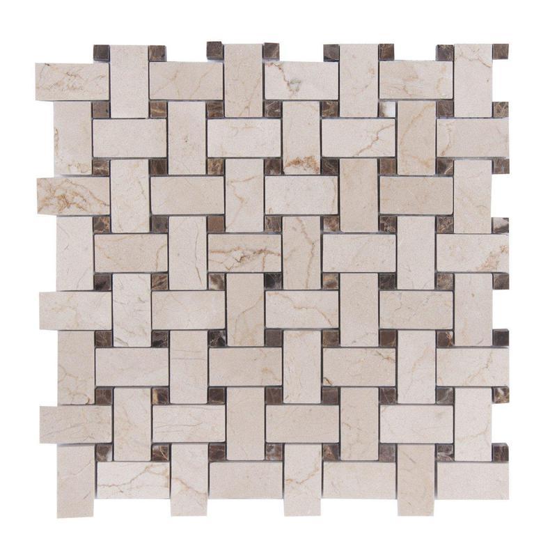 Marble Crema Marfil Basketweave W Emp Dark Dot Polished   Mosaic